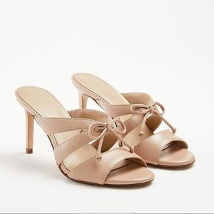 Ann Taylor leather heeled sandal with bow